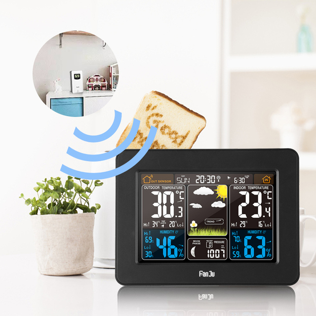 FanJu FJ3365B Weather Station Wireless Digital Color Forecast Alarm Indoor Outdoor Thermometer Hygrometer Sensor Backlight Clock