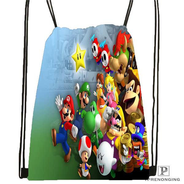 Custom New Super Mario Bros Drawstring Backpack Bag Cute Daypack Kids Satchel Black Back 31x40cm 2018612