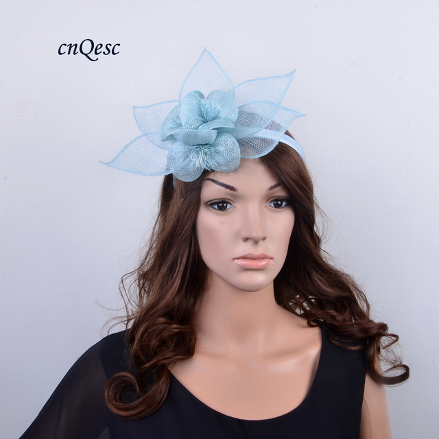 188d2ab6a62 NEW DESIGN pale blue Sinamay fascinator with leaf and flower for kentucky  derby Races Wedding church party