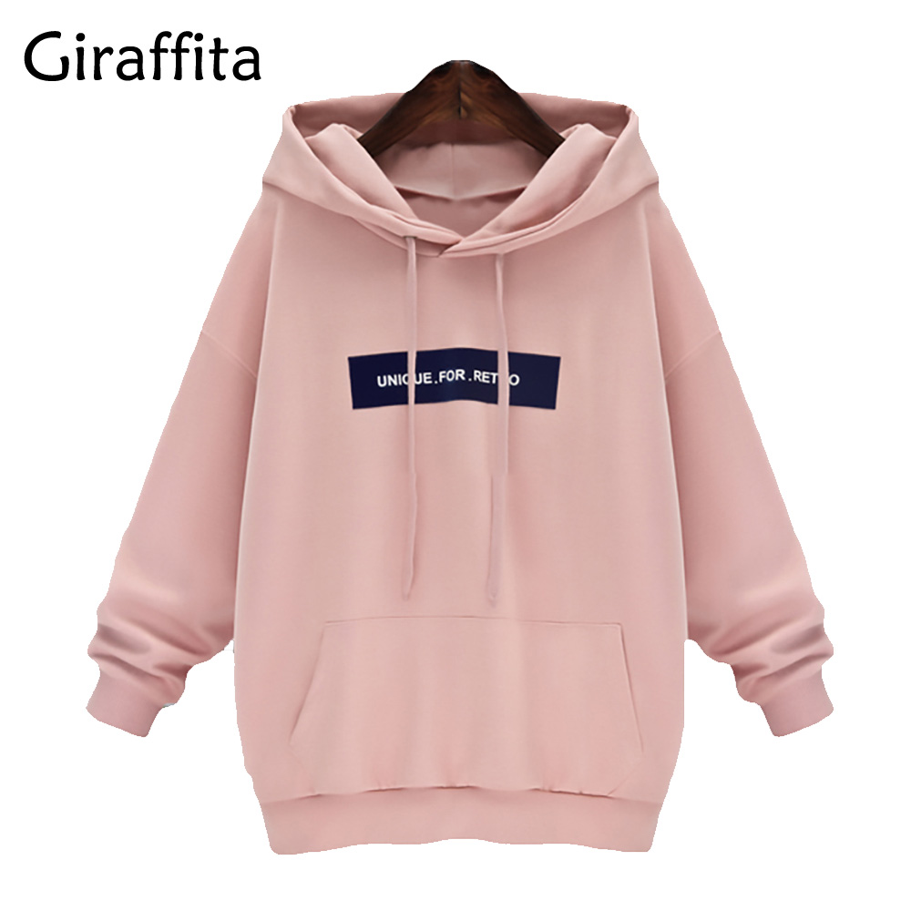 Giraffita Style Harajuku Letters Print Autumn Winter Tops Loose Outerwear Fleece Pullovers Hooded Sweatshirt Women Clothing 2017