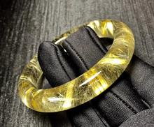 Genuine Natural Gold Rutilated Titanium Bangle Woman Lady Wealthy Stone 58mm Quartz Crystal AAAAA
