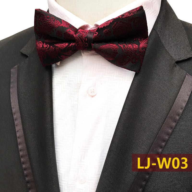 New Fashion Men Woven Bowties Classic Burgundy Paisley Pattered Bow Ties(China)