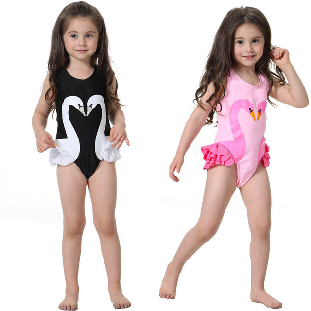 c3db7fa736 Girls Swimwear Cute Kids Swimsuit with Swimming Cap lace ruffle swan baby  girl bathing suit One Pieces Swim Wear Children 2-6yrs