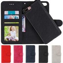 Флип Кожаный чехол Для iPhone 7 Бумажник Случае Кредитные Карты Карман съемный Съемный Мягкий Силиконовый для iPhone 6 s 7 Плюс Кожа мешок