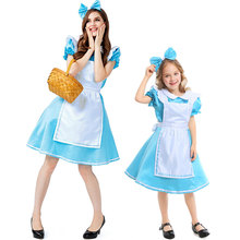 Umorden Alice in Wonderland Costume for Kids Girls Women Blue Princess Maid Cosplay Halloween Purim Mardi Gras Party Dress