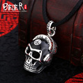 Beier new store 100% 925 thai silver sterling skull pendant necklace punk fashion jewelry white/red free give rope  A2108
