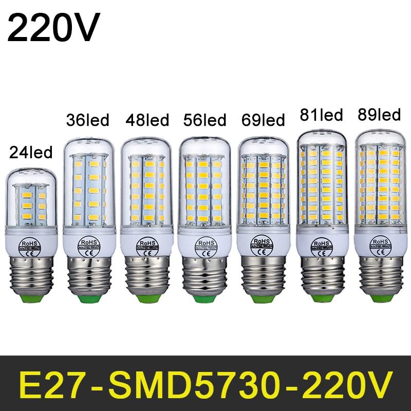 LED Lamp E27 E14 220V LED Light SMD5730 Mini Smart IC LED Bulb Corn Light 24/36/48/56/69/81/89LEDs Chandelier  Home Decoration бра leds c4 twist 05 2817 81 14
