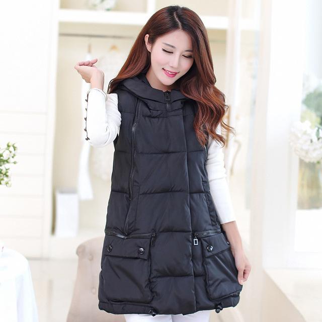 2015 nuevo otoño e invierno moda delgado abajo chaleco de algodón yardas grandes larga sección chaleco encapuchado de las mujeres tamaño de la chaqueta L-3XL Y1021-78D