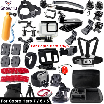 цена на SnowHu For Gopro accessories set For Gopro hero 7 6 5 waterproof protective case chest for go pro hero 7 6 5 tripod GS41