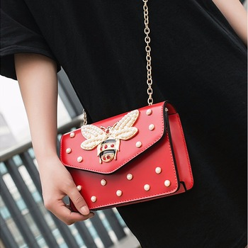 Women Brand Desinger Rhinestones Bee PU Leather Shoulder Bag Small Crossbody Bag with Chain For Girls Ladies Bag Bolso Mujer 219