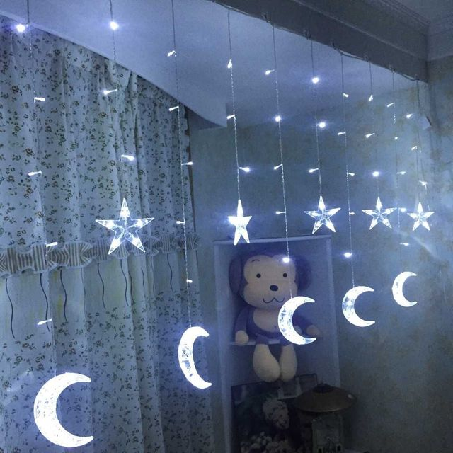 Christmas decoration for home LED colorful lights Moon curtains ...