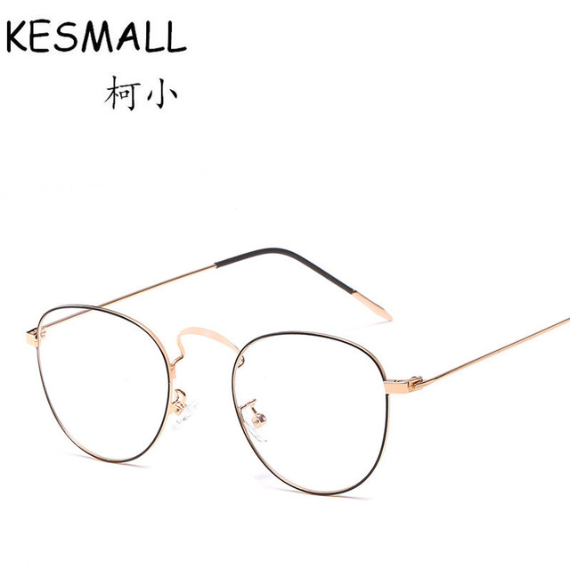 fde5a15e9c4 KESMALL 2018 Round Shape Optical Glasses Frame Women Men Fashion Myopia Eyeglasses  Frame Gold Silvery Color Metal Eyewear YJ1083