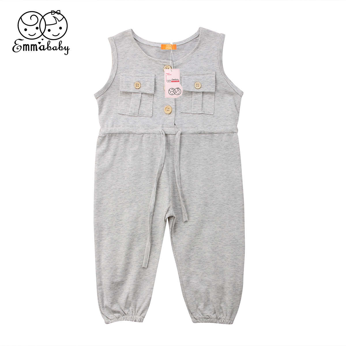 75613f4905f0e Newest Summer Baby Girl Strappy Sleeveless Romper Toddler Kids Jumpsuits  Sunsuit Casual Pocket Outfit Clothes for Girl
