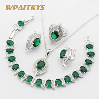 925 Silver Jewelry Sets For Women Green Emerald White Topaz Earrings Bracelet Rings Necklace Pendant