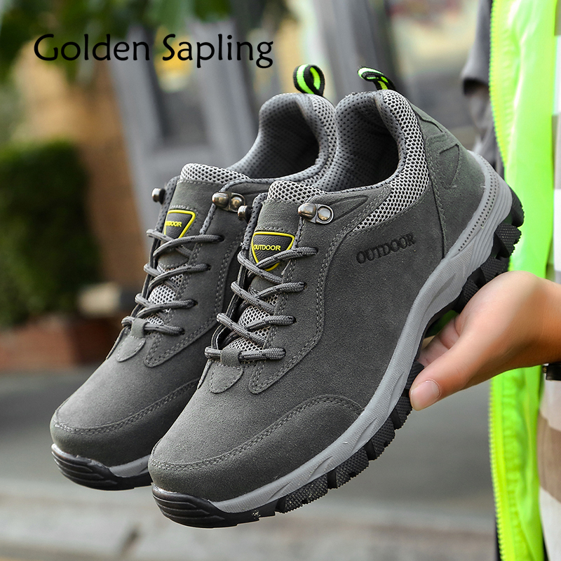 Golden Sapling Mountain Hiking Shoes Men Waterproof Leather Men's Sneakers Men Tactical Sneakers Outdoors Rubber Trekking Shoes sapling