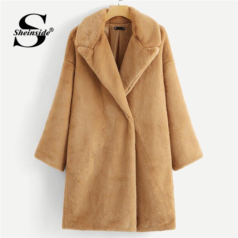 Sheinside Camel Button Front искусственный мех плюшевое пальто женская зимняя одежда 2018 Офисная Женская Повседневная Верхняя одежда женские теплые дли...