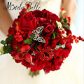2016 Hermosas Rosas Rojas Flores de La Boda Ramos de Novia Artificial Hecho A Mano Broche Buque de Noiva Para Damas de Honor
