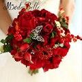 2016 Lindas Rosas Vermelhas Flores Do Casamento Noivas Bouquets Artificial Artesanal Broche Buque de Noiva Para Damas de Honra
