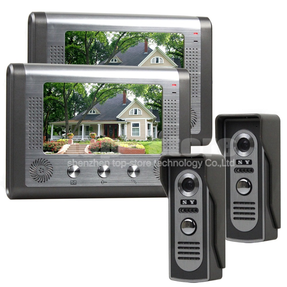 Diysecur 2 monitor 2 camera 7 inch wired video door phone for Door intercom