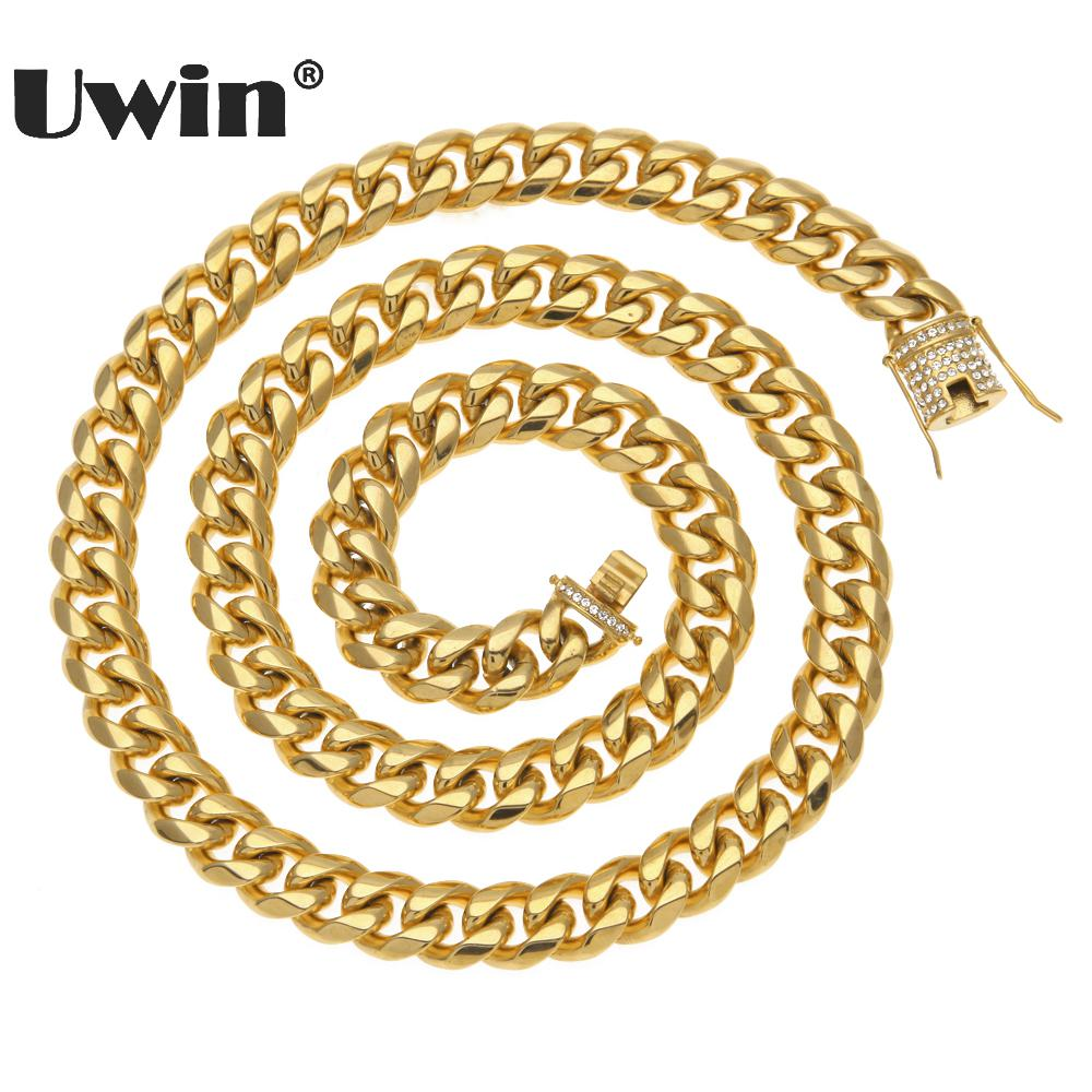Uwin Luxury Heavy Cuban Link Chain Iced Out Rhinestones Triple Lock Stainless Steel Long Necklace Men
