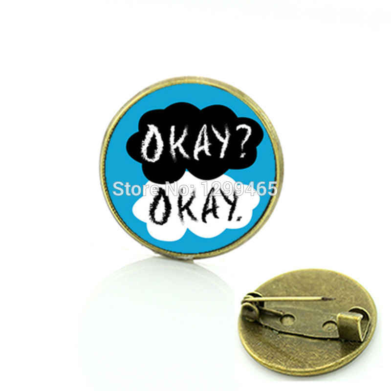 Okay Okay  Character jewelry The Fault in Our Stars Silver TFIOS Handmade Jewelry black and white brooch jewelry  C 502
