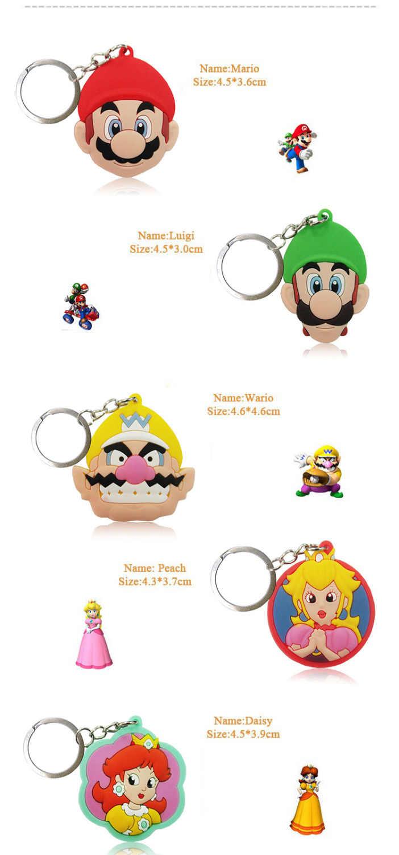 1 pcs Super Mario Figura Dos Desenhos Animados Chave Anel Chave Da Cadeia de PVC Chave Cobrir Titular Do Favor Do Partido Caçoa o Presente Acessórios Keychain moda Bugiganga