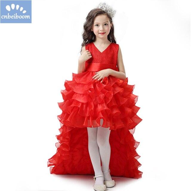 519a1b08d Vestidos de niña de las flores de gasa roja siguiendo concurso chica de  verano de los