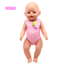 Pink Swimwear For 18″ American Girl Doll Bikini summer Swimming Suit also fit for 43cm Baby born zapf dolls