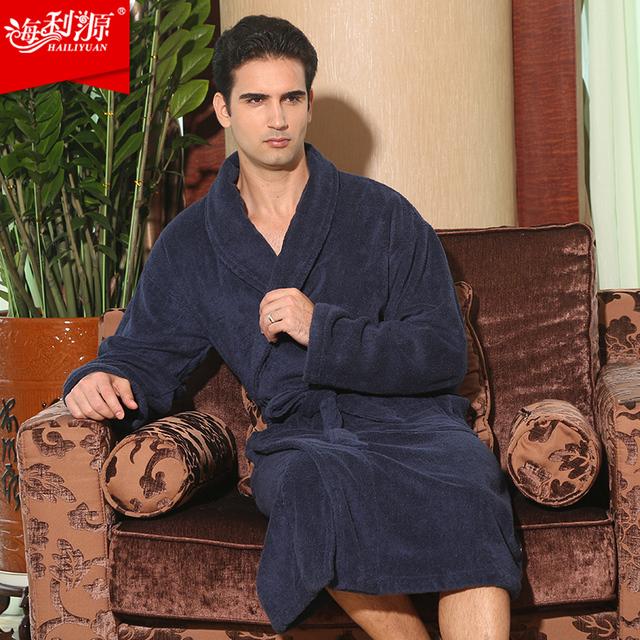 Aumentar Mais fertilizantes homens tamanho 100% algodão inverno robe espessamento roupão sleepwear