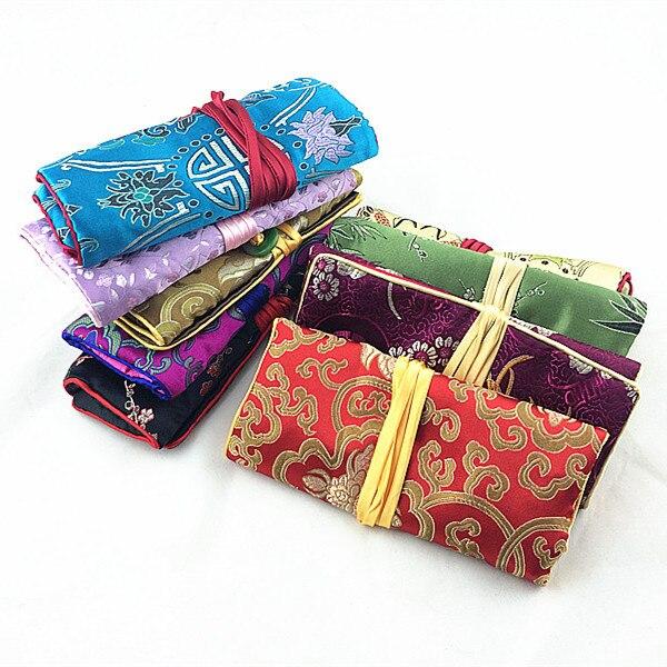 Large Jade On Jewellery Roll 3 Zipper Bags Drawstring Travel Storage Pocket Silk Brocade Makeup Purse