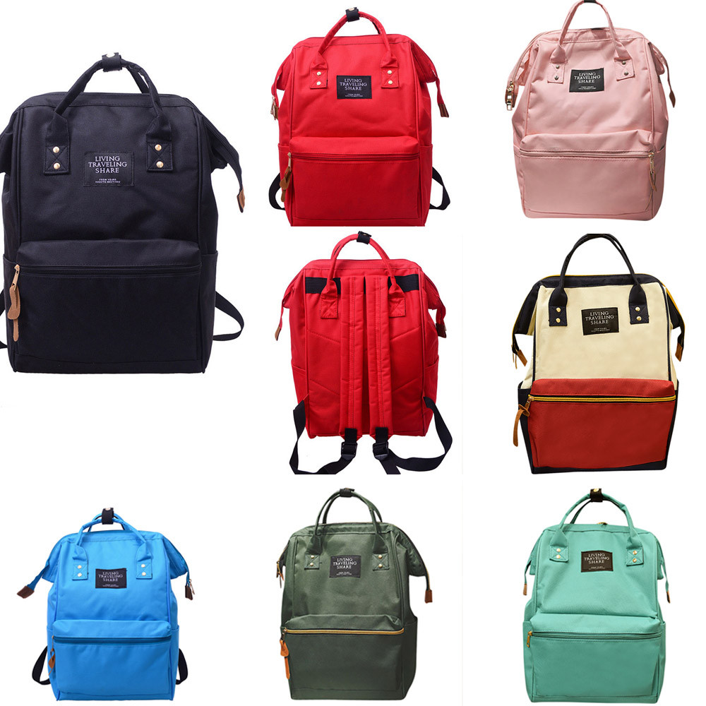 Unisex Solid Backpack School Travel Bag Double Shoulder Bag Zipper Bag School Bag for Te ...