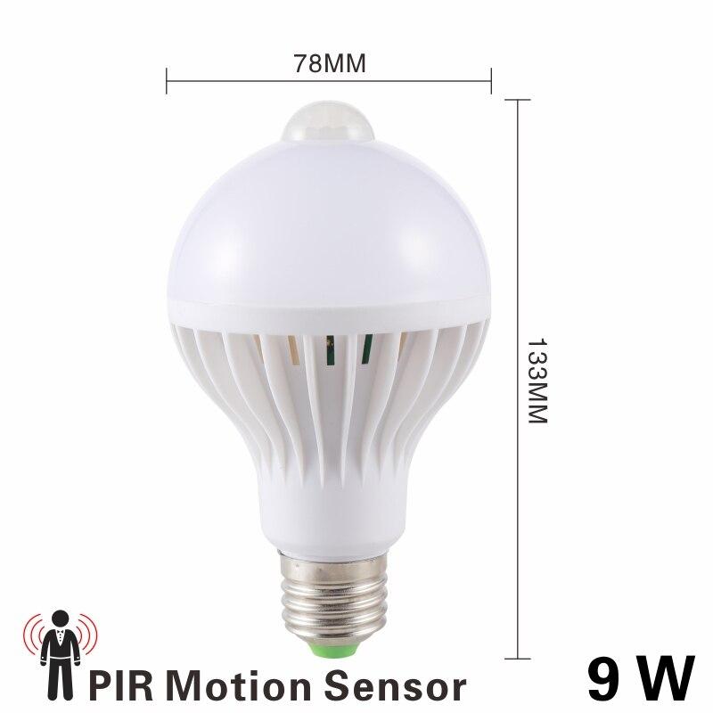 Светодиодная лампа 3W, 5 Вт, 7 Вт, 9 Вт, PIR датчик движения, лампа переменного тока, 220 В, 230 В, авто, умный Led PIR инфракрасный светильник для тела, E27, светильник с датчиком движения - Испускаемый цвет: 9W PIR Motion Sensor