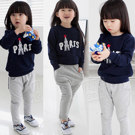 Casual set High quality 2015 autumn and winter girls clothing baby or child fleece sweatshirt trousers casual set Free Shiping  high quality fashion girls clothing sets lady style sweatshirt shorts 2pcs autumn winter baby girls clothes set 2015 brand new