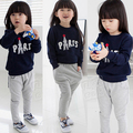 Casual set High quality 2015 autumn and winter girls clothing baby or child fleece sweatshirt trousers casual set Free Shiping