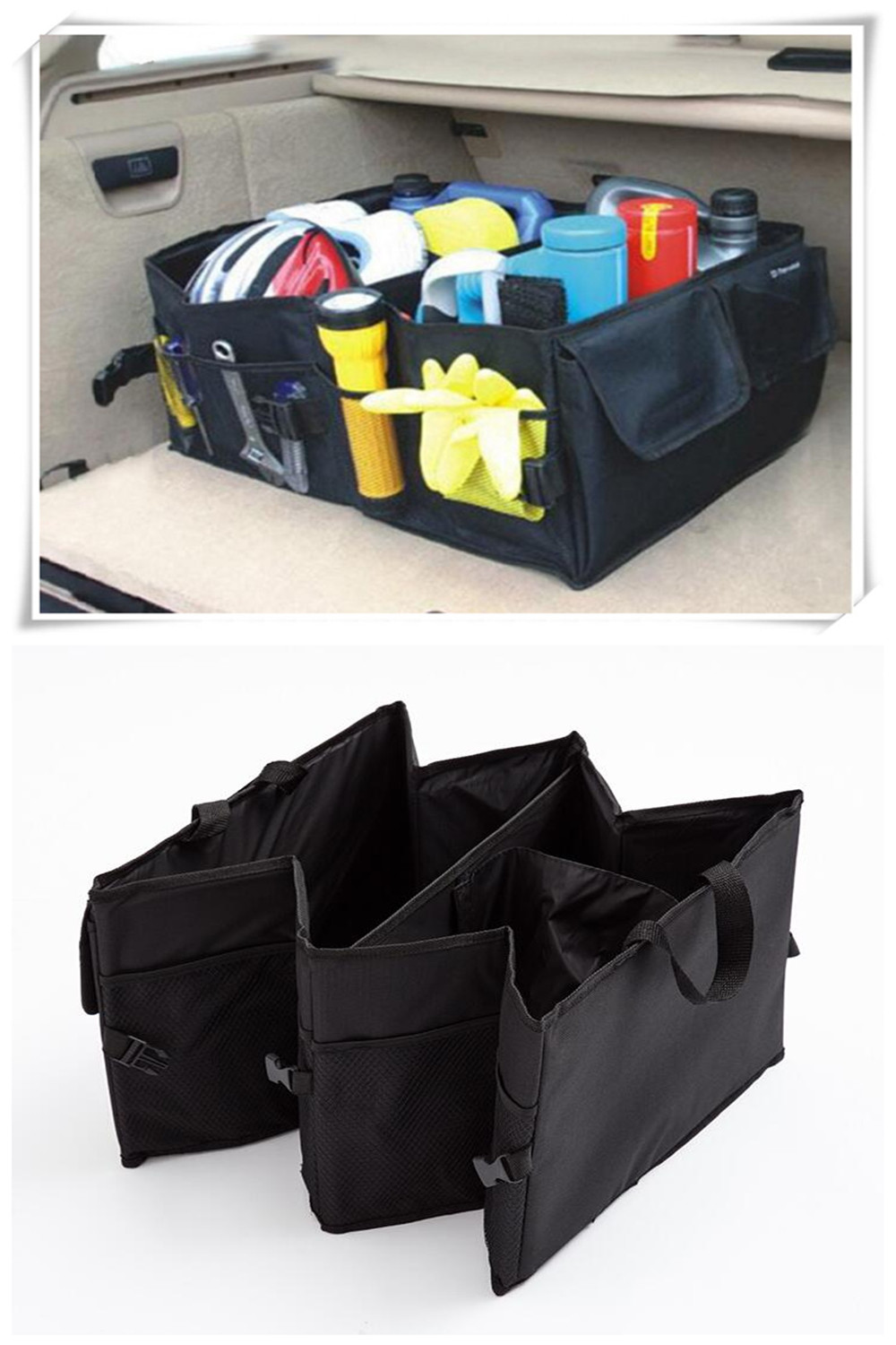 Car Back Folding Storage Box Car Portable Storage Bags For Jaguar XF XJ XJS XK XJL XJ6 Cadillac XT5 CT6 ATS XTS SUV Accessories