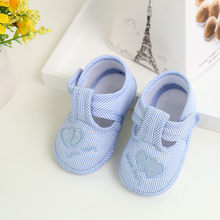 Baby Pinstripe Embroidery Toddler Shoes Fashion Soft Bottom Toddler Shoes Soft Sole Crib Botines De Bebes Canvas Sneaker(China)