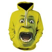 2019 New Shrek Hoodies Sweatshirts Funny fashion Hip Hop Clothes Long Sleeve Hoodie Street 3d Printing Sweatshirt Men Clothes
