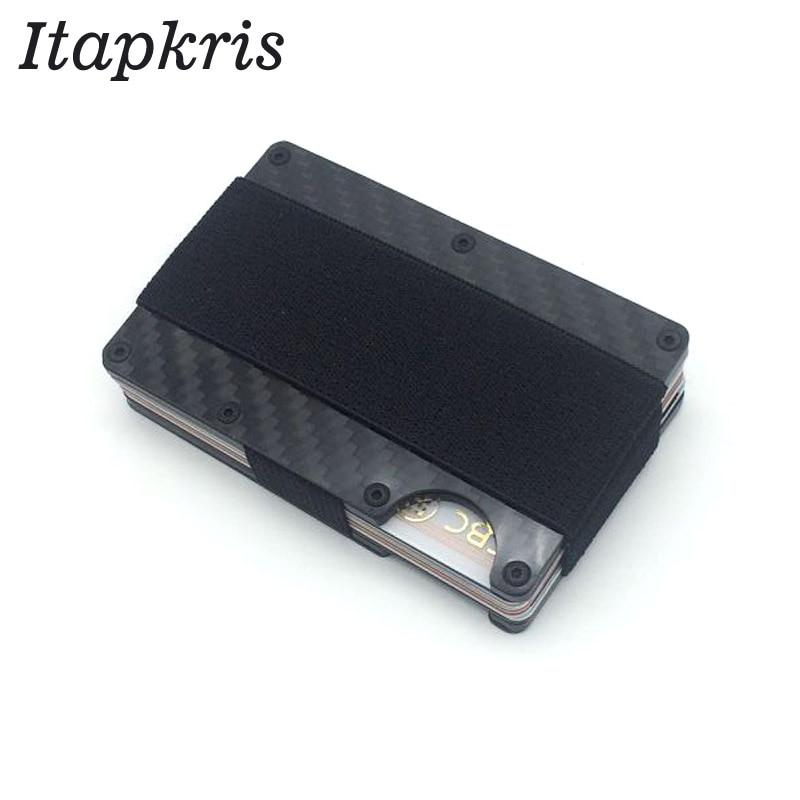 Carbon Faser RFID Brieftasche für Männer Dame Metall Kreditkarte Halter Dünne Schutz Blockieren Porte Abzeichen Papier Geld Fall