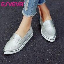ESVEVA Toutes Les Sélections Taille 34-40 Mode Blanc Femmes Chaussures Plate-Forme faible Talon Simple Chaussures PU En Cuir Bout Pointu Femmes Casual chaussures