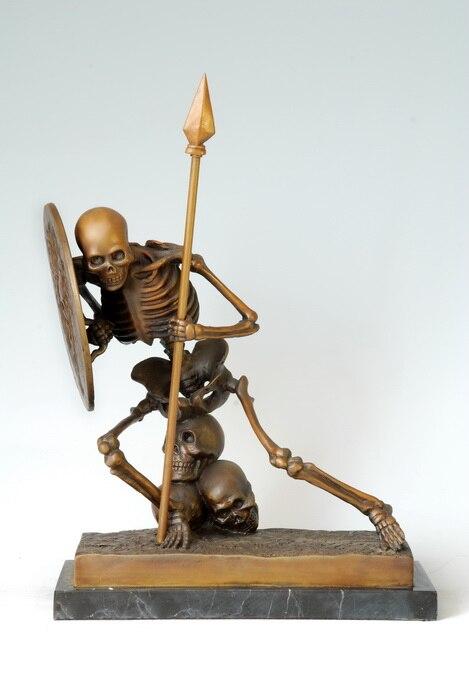 ATLIE BRONZI Arte Moderna Astratta Del Cranio Del Bronzo Statua scheletro umano Fantasma Santi Rame artigianato decorazioni Per La Casa