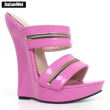 """Jialuowei Women Sexy 7"""" High Wedges Heels Shoes Platform PU Leather Ankle Strap Sandals Fashion Summer Pumps Ladies Shoes"""