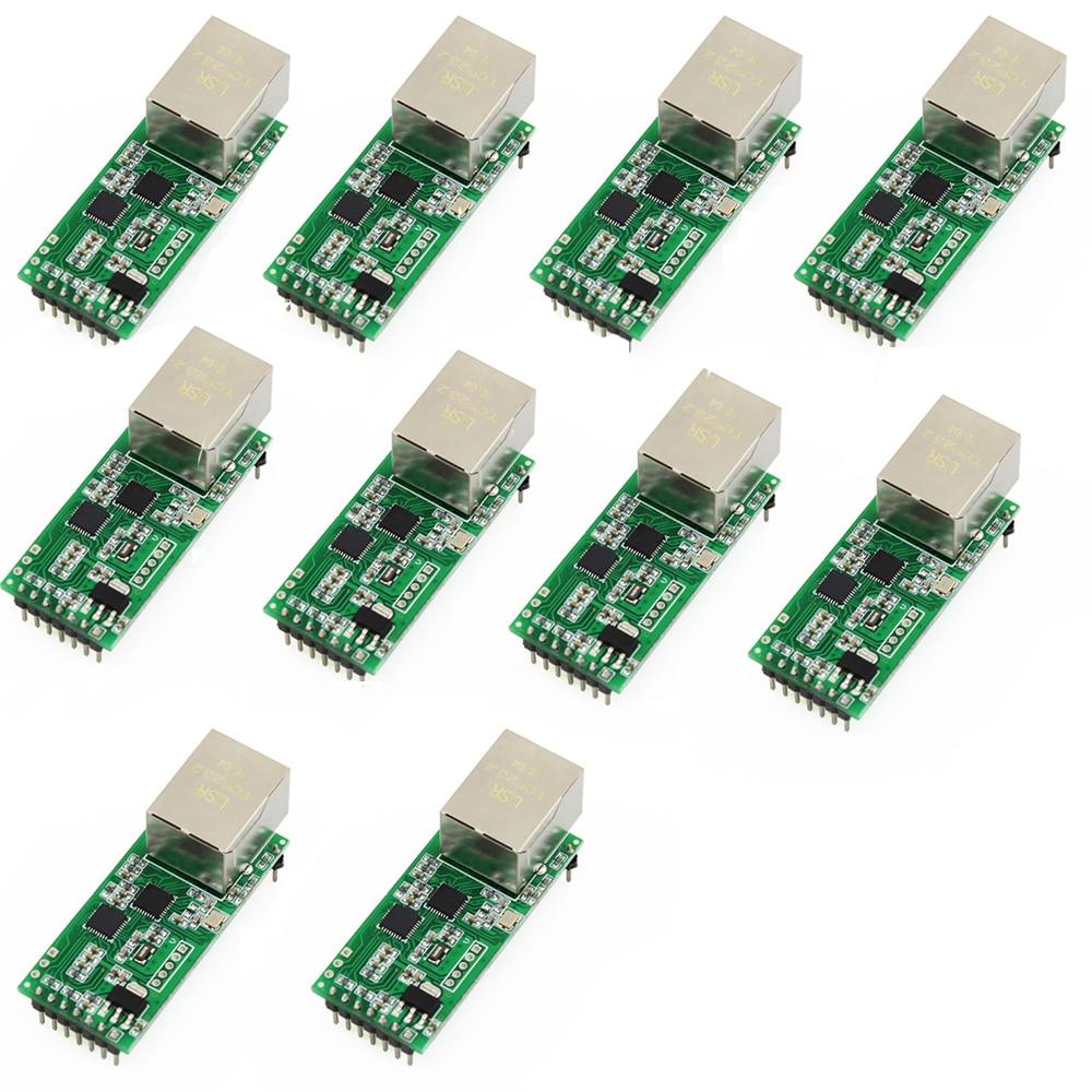 Q18042-10 10PCS USR-TCP232-T2 Tiny Serial Ethernet Converter Module Serial UART TTL To Ethernet TCPIP Module