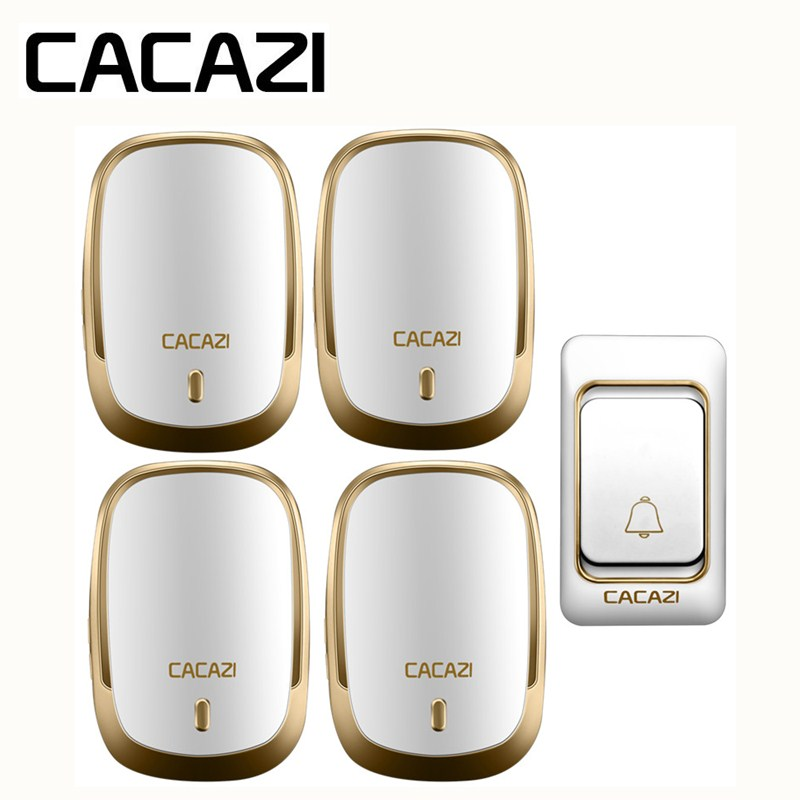CACAZI Wireless Doorbell Waterproof Long Range DC Button Battery Operated 200M Remote Calling Bell Rings 6 Volume Door 36 Chime cacazi white black long range wireless doorbell dc battery operated 300 m remote control doorbell rings 6 volume door chime 48