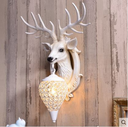 Lucky bow antler wall lamp Nordic living room TV background wall bed personality creative deer head wall lamp decoration
