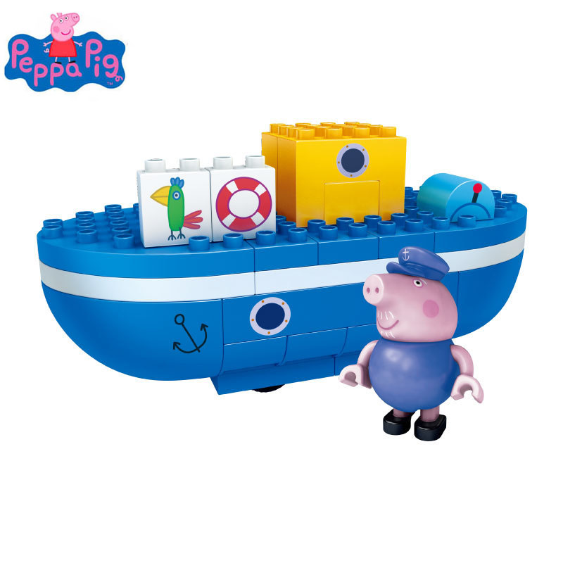 Genuine Peppa Pig Action Figure Peppa Pig Grandpa Big Tanker Assembling Toy Children Birethday Gift Toys