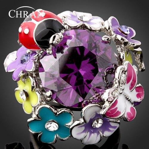 Chran Классический Посеребренные с эмалированными цветами свадебные Кольца для Для женщин Прекрасная бабочка Цирконий дамы обещал кольцо