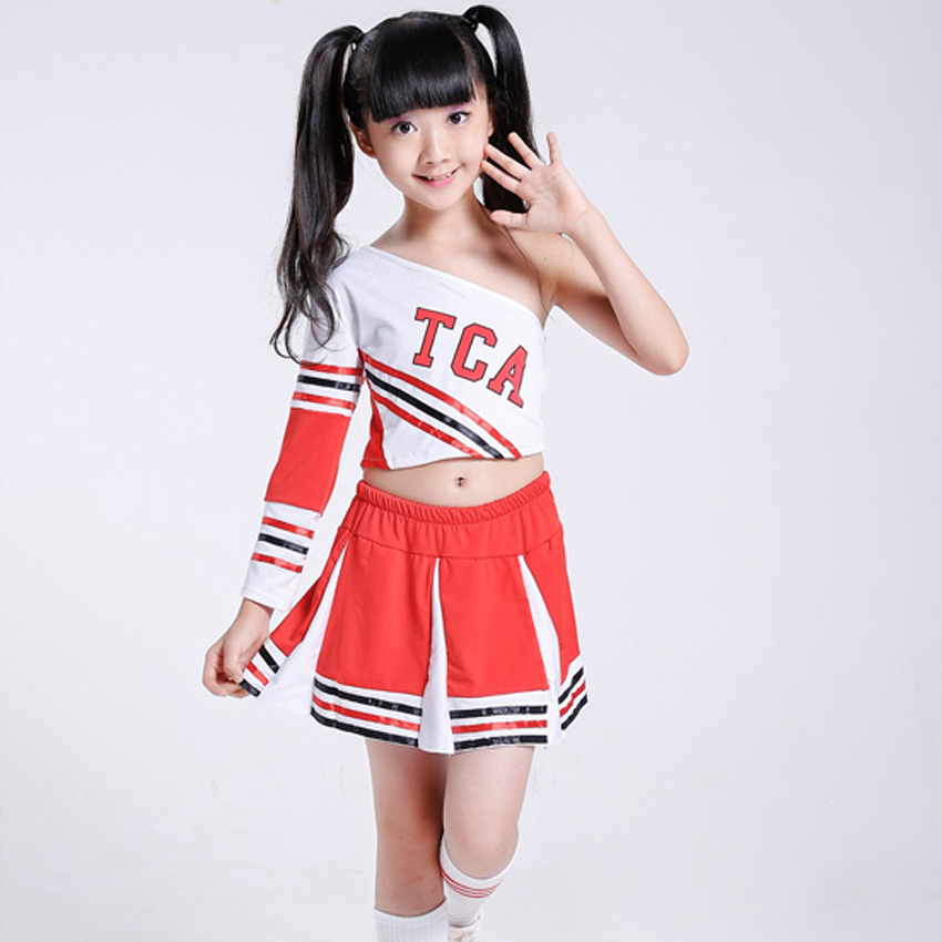 Student Team Stage Performance Cheerleader Uniform Girls Shoulder Off Tops Skirt Set Teenager Boys School Costumes 100-170cm