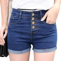 Nieuwe 2017 Mode 4 Knoppen Retro Elastische Hoge Taille Shorts Feminino Denim Shorts voor Vrouwen Skinny Plus Size Blue Jeans korte