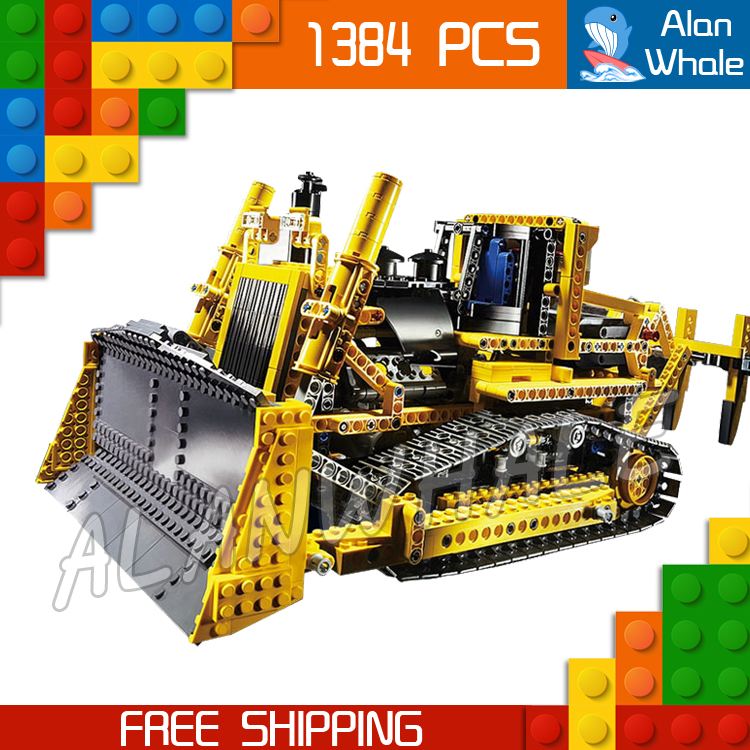 1384pcs New Techinic Remote Controlled Motorized Bulldozer 20008 DIY Model Building Kit Blocks Gifts Toys Compatible With lego 1636pcs 2in1 techinic remote controlled