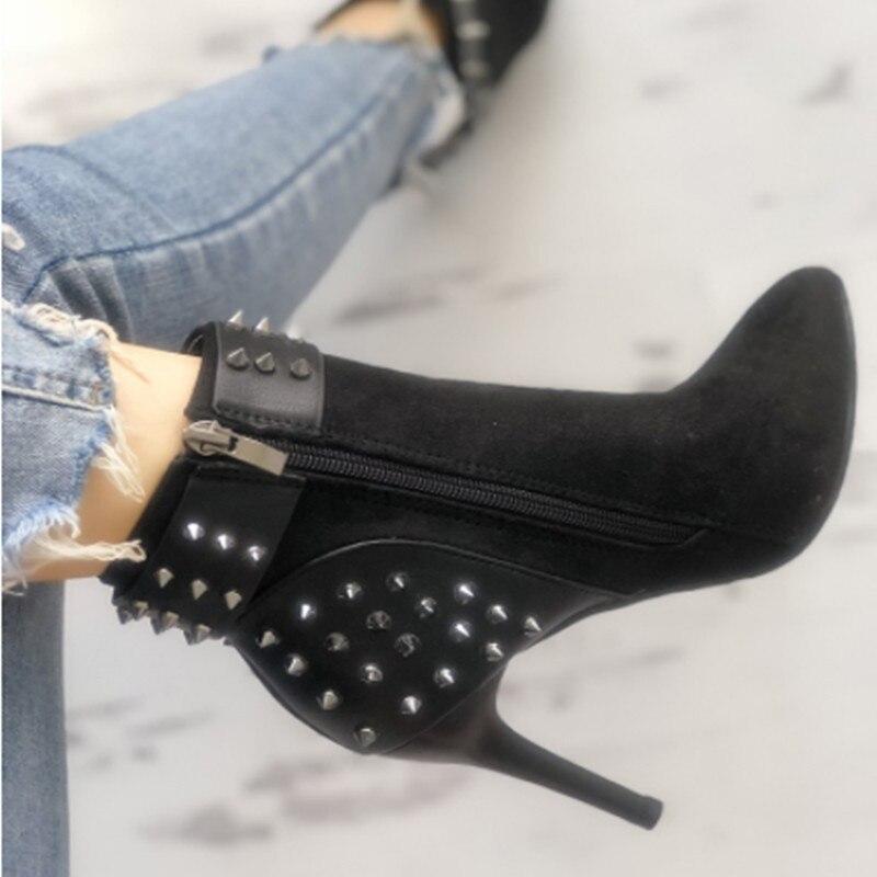 Punta Rivetti Stivali Spillo Scarpe Mujer Nero Patchwork Tacchi Donne Delle Della A Camoscio Botines In Pelle Solid Caviglia Fibbia X8wZPZpq